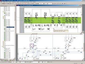 Рис. 4. Пример отображения единой базы данных проекта в реальном времени на принципиальной схеме и чертеже компоновки.